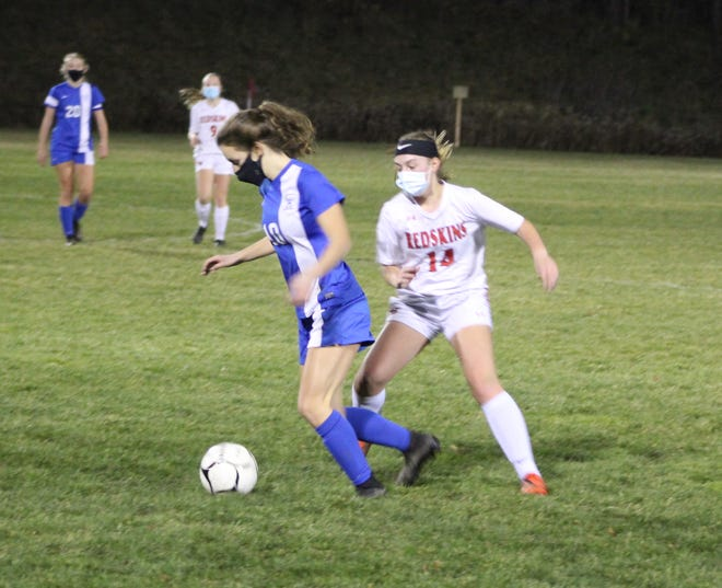 Alfred-Almond's Ainsley Grigg (10) pushes past Canisteo-Greenwood's Faith Blake (14) on Friday evening in Almond