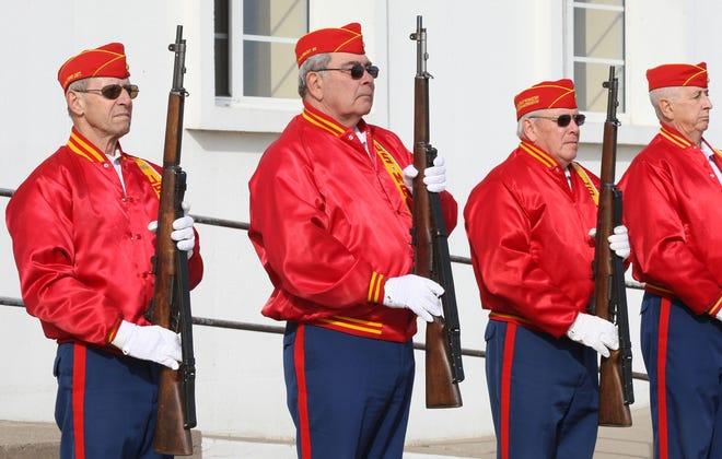 A 21-gun salute during the Veterans Day service at Memorial Auditorium Friday Nov. 11, 2016 in Burlington.