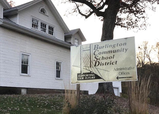 The entrance to the Burlington School District admistration building is shown Friday in Burlington.