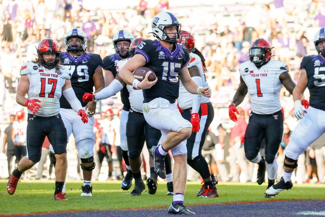 TCU quarterback Max Duggan ran 19 times for 154 yards and three touchdowns, all career highs, leading the Horned Frogs past Texas Tech 34-18 Saturday in Big 12 action at Amon Carter Stadium in Fort Worth. Duggan's last two touchdowns were 48- and 81-yard runs in the second half.