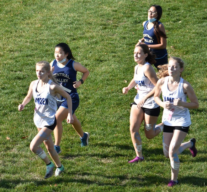 Camden's boys and girls cross-country teams visited Central Valley Academy Saturday, Nov. 7, 2020, in Ilion. CVA senior Jack Gibson broke a course record during the meet, winning the boys race in 18:11.5. Camden's Lizzy Lucason also had a course record on the girls side, with a time of 19:20.3