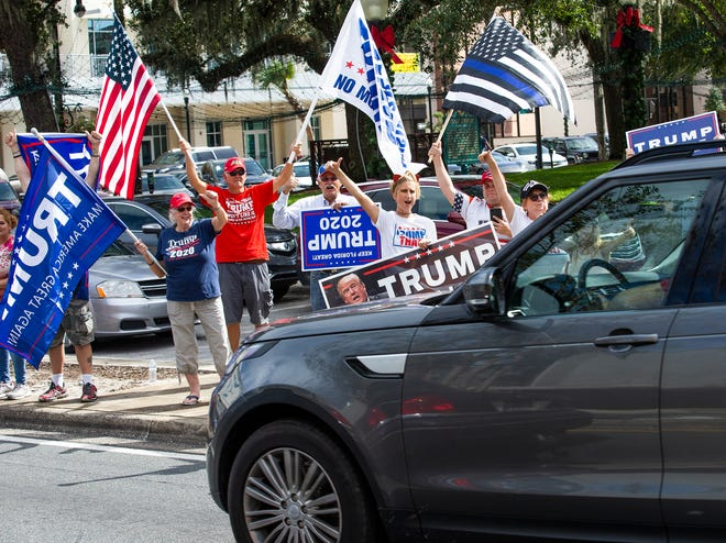 Supporters of President Donald Trump were on the downtown square Saturday.