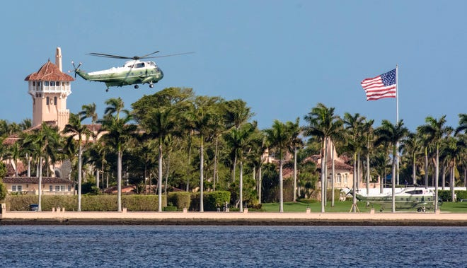 Two Marine One helicopters arrive at Mar-a-Lago in 2019. The town mandated that the helipad be used only as long Donald Trump was president.