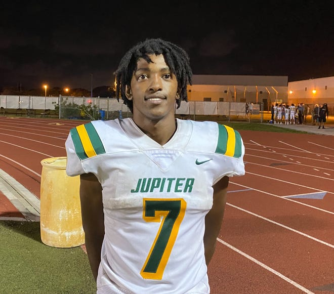 Jupiter's Emonte Brown had three rushing touchdowns in Friday's win over Suncoast.