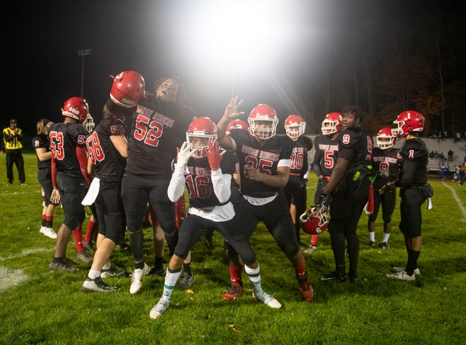 "Kent Roosevelt hosted the rivalry game with Ravenna and left with the ""R"" 37-7. Rough Riders celebrate after the win."