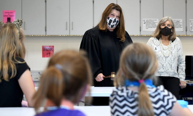 Stark County Common Pleas Judge Taryn Heath speaks to students during a meeting of Fairless Elementary School Girls with Pearls program. The program brings third grade girls face-to-face with women who share their experiences.