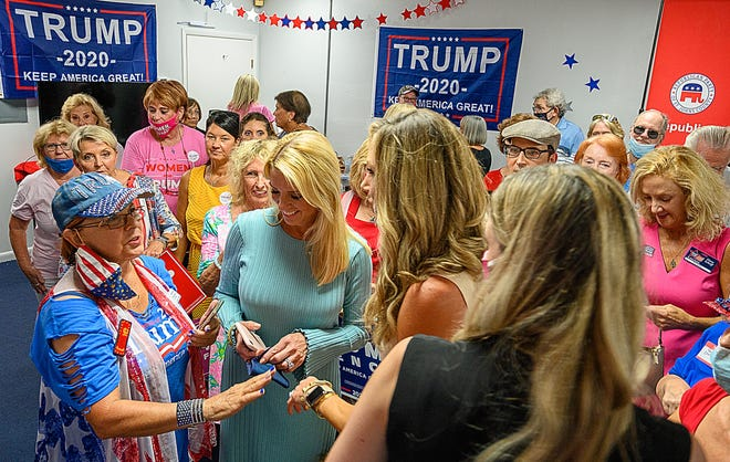 Former Florida Attorney General Pam Bondi and Lara Trump, wife of Eric Trump, make a campaign stop for President Trump at the St. Johns County Republican Party Headquarters in St. Augustine in September.