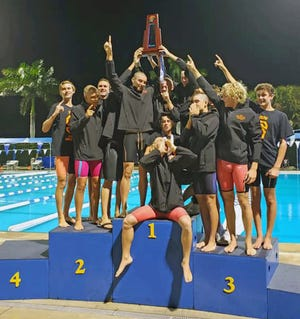 The Sarasota High boys swimming team finished first in the state at the Florida High School Athletic Association Class 3A meet Friday in Stuart.