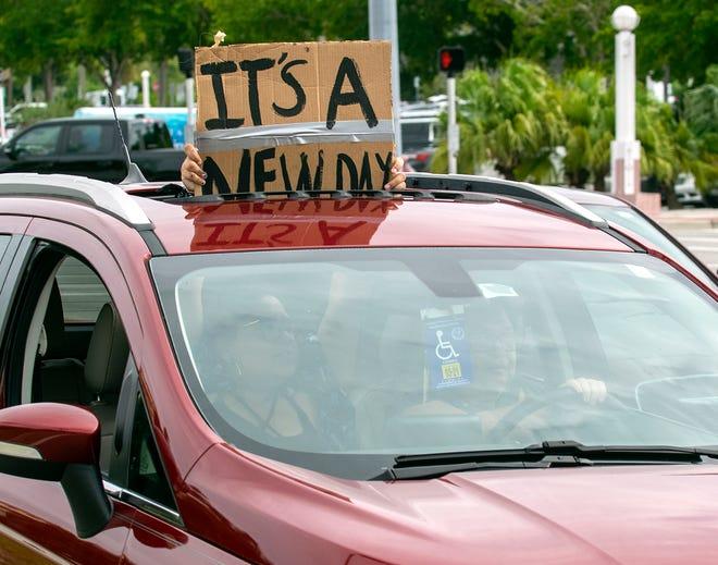 Sarasota residents celebrated Joe Biden's victory Nov. 7 at the Sarasota Bayfront.
