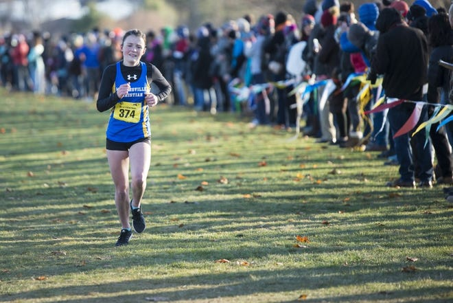 Whitinsville's Molly Lashley finishes second at last year's Central Mass. Division 2 cross-country meet.