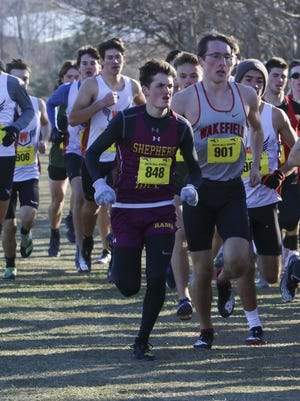 Shepherd Hill's Henry Weiland (848), shown seeking an opening at last year's All-State Meet, is the state's male Heisman winner this year.