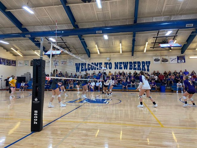 Newberry High plays Bell in Saturday's Class 1A state volleyball semifinal at Newberry.