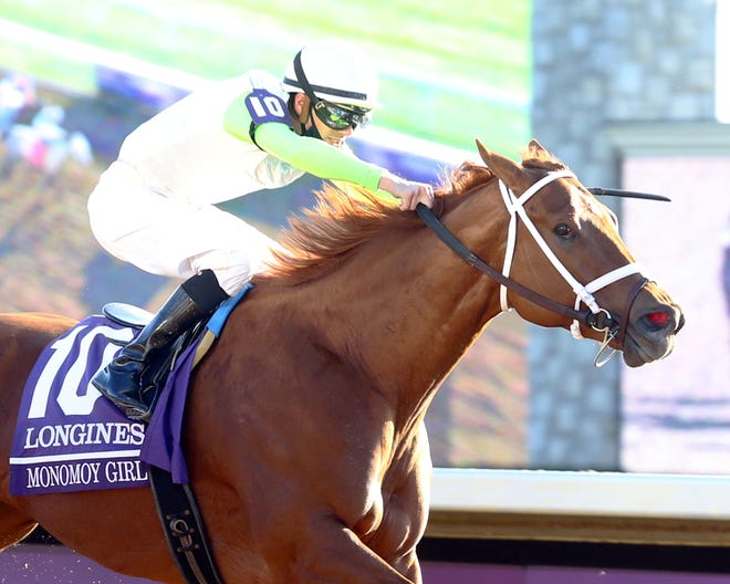 Monomoy Girl and jockey Florent Geroux win Saturday's Breeders' Cup Distaff at Keeneland in Lexington, Ky.