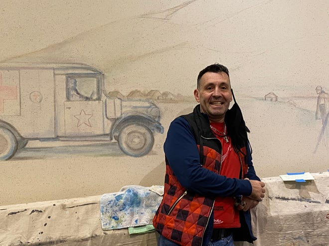 William Obenour's latest project is a mural honoring Marion veterans. The painting will be located in a corridor that leads to the County Engineer's Office, Board of Elections, Auditor's Office, and Treasurer's Office inside the Marion County building,