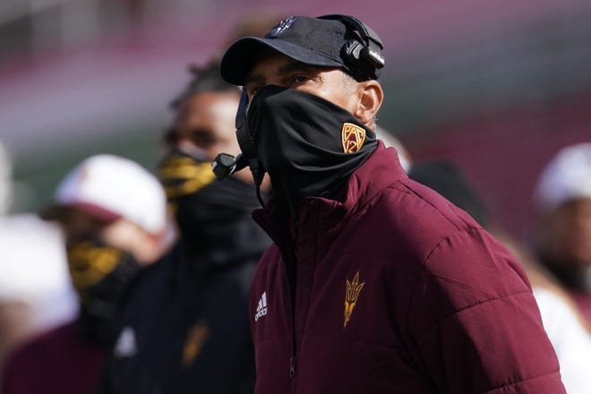 Nov 7, 2020;  Los Angeles CA, USA; Arizona State Sun Devils head coach Herm Edwards watches from the sidelines in the fourth quarter against the Southern California Trojans  at the Los Angeles Memorial Coliseum. USC defeated Arizona State 28-27.  Mandatory Credit: Kirby Lee-USA TODAY Sports