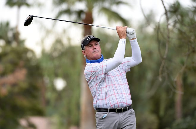 Paul Goydos hits his tee shot on the sixth hole during the first round of the Charles Schwab Cup Championship on November 06, 2020 in Phoenix, Arizona.
