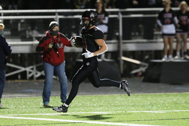 Brandon Valley running back Tate Johnson crosses the goal line for one of his five touchdown runs on Friday, Nov. 6 against Sioux Falls Lincoln. The Lynx won 55-28 to advance to the Class 11AAA title game.