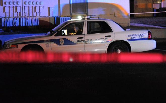 Wichita Falls police tape-off a crime scene Nov. 6 at an apartment complex on Professional Drive after Edward Ray Collins, 25, was shot.