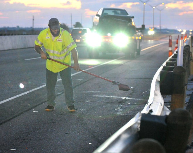 Emergency responders work the scene of an injury accident Saturday morning.