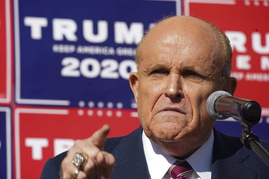 Attorney for the President, Rudy Giuliani, speaks at a news conference in the parking lot of a landscaping company on November 7, 2020 in Philadelphia.