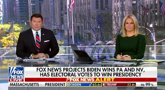 Fox News anchors Bret Baier and Martha MacCallum call Pennsylvania, and the election, for Joe Biden on Nov. 7.
