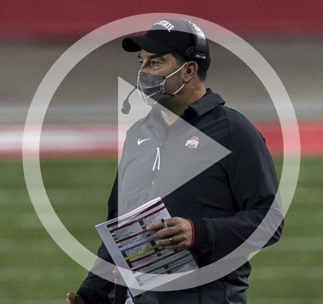 Ohio State Buckeyes head coach Ryan Day calls a play during the first quarter of the NCAA football game against the Rutgers Scarlet Knights at Ohio Stadium in Columbus, Ohio on Sunday, Nov. 8, 2020. Ohio State won 49-27.