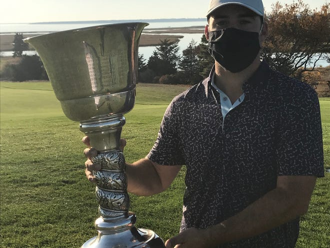 Ricky Stimets poses with the Cape Cod Amateur Championship trophy after defeating Alex Stimpson in the final round Sunday afternoon at Hyannisport Club. [Photo by Brad Joyal]