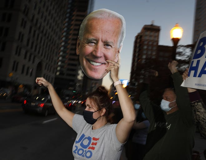 Holli Kranz 28 said she could not be happier that Biden is now the President elect. Holli along with other Biden supporters were along S. High St. in front of the Statehouse on Saturday.