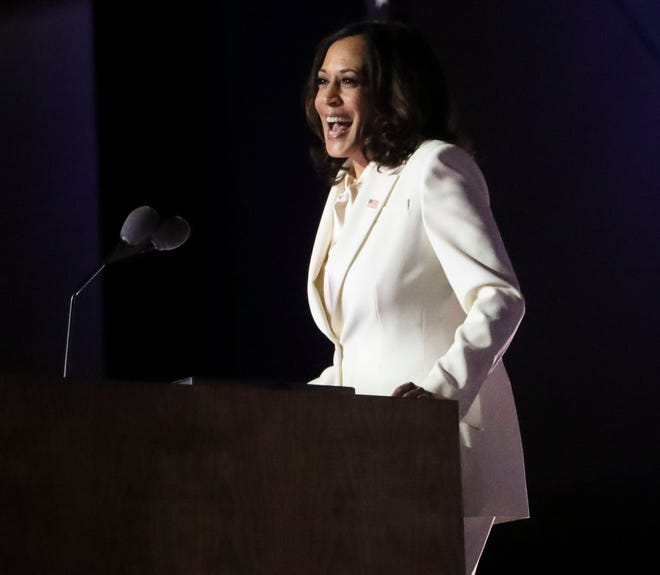 Vice President-elect Kamala Harris delivers remarks during a victory celebration on Saturday night in Wilmington, Del.