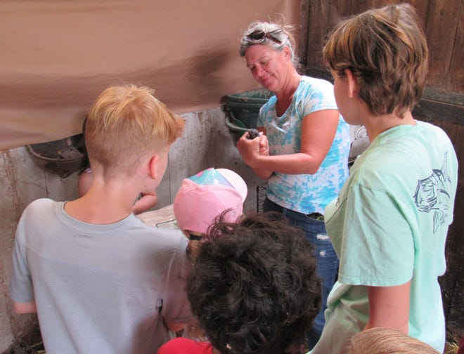 Heather Beaven shares a look at the newborn bunnies during the Out School Day featuring a lesson on bunnies, at Huckleberry Farms in Flagler County.