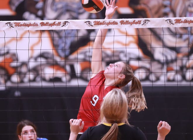 Winfield-Mount Union High School senior Jenna Buffington goes up for a kill during the Southeast Iowa All-Star Classic volleyball match Saturday at Mediapolis.