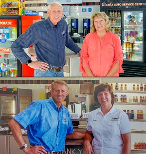 A composite photo shows Martin and Connie Black, above, in a recent photo in Blacks Auto Service Center, and below in a photo taken just after the couple opened the business on Pulteney Street in Corning.