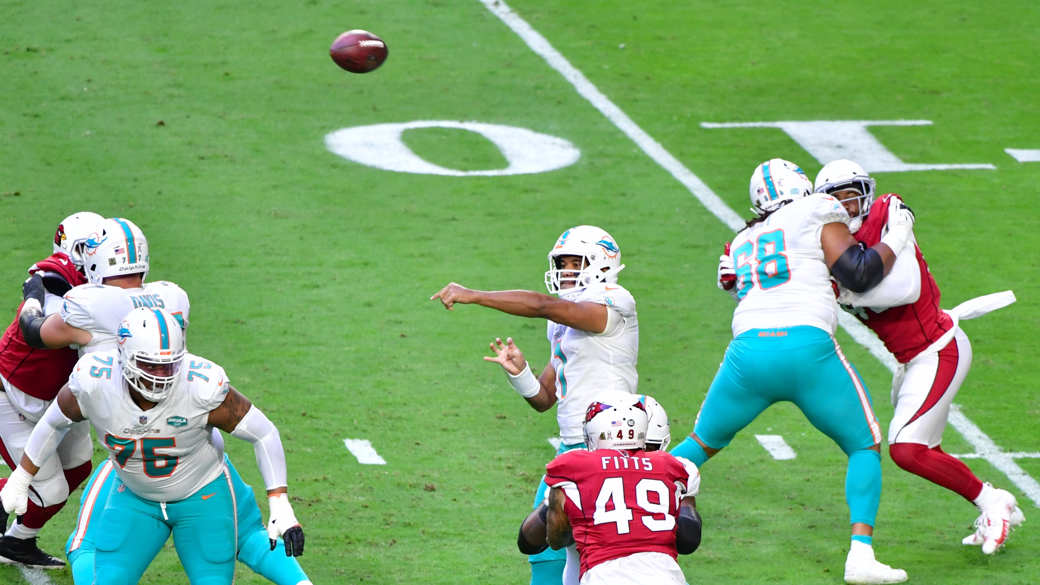 Dolphin defender Tua Tagovailoa pulled through with greater confidence in Sunday's victory over Cardinals.