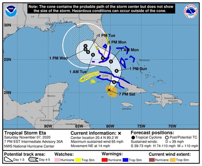 Tropical Storm Eta is forecast to bring gusty winds and heavy rainfall to Palm Beach County and the Treasure Coast late Sunday.