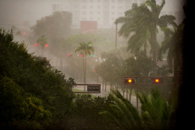 Tropical Storm Eta brings wind and rain to downtown West Palm Beach Sunday November 8, 2020.