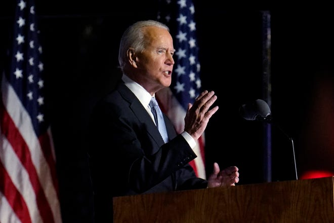 President-elect Joe Biden gives a victory speech Saturday night in Wilmington, Delaware, in which he issued a call for national unity and vowed to represent even those who did not support him.