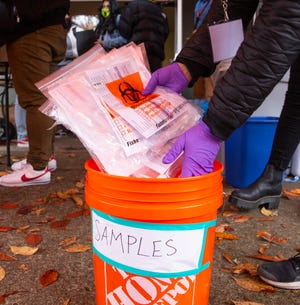 TRACE staff bring samples back to their staging area in Eugene.