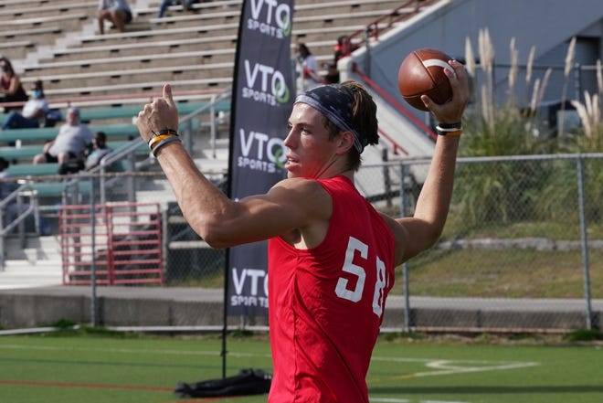 New Hanover quarterback Aliam Applier during the VTO combine at Legion Stadium in early November.