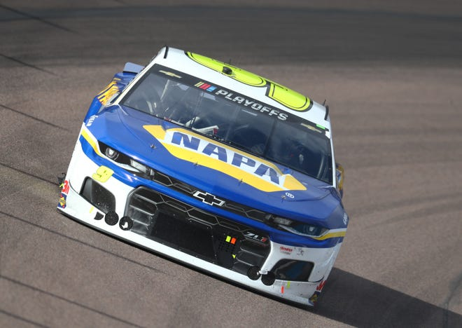 Driver Chase Elliott charges along toward taking the NASCAR Cup Series Championship at Phoenix Raceway.