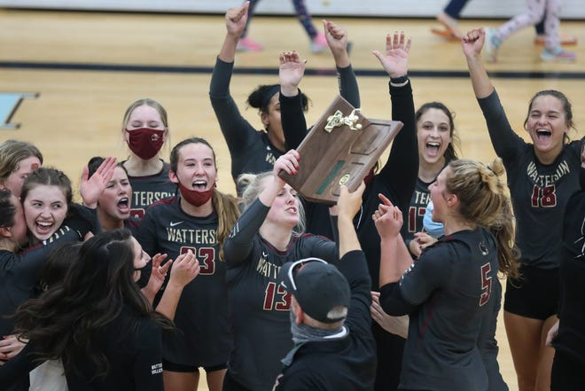 The Watterson girls volleyball team celebrates after defeating Olentangy Orange in four games Nov. 7 at Hilliard Darby to capture its first Division I regional championship.