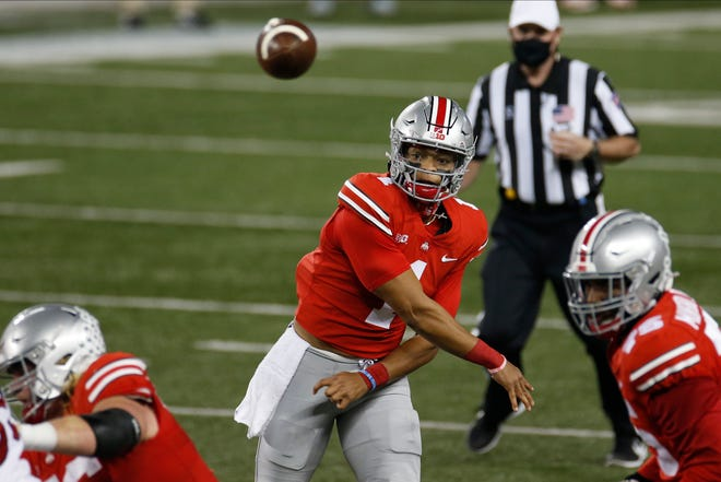 Ohio State quarterback Justin Fields has been red-hot, but will the cancellation of Saturday's game at Maryland cool him off?
