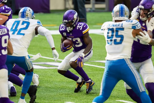 The Vikings in Minnesota raced back to Dalvin Cook running with the ball during the first quarter meeting the Detroit Lions at Bank of America Stadium, Nov. 8, 2020.