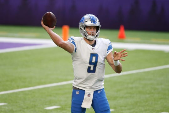 Detroit Lions quarterback Matthew Stafford throws a pass during the second half of an NFL football game against the Minnesota Vikings, Sunday, Nov. 8, 2020, in Minneapolis.