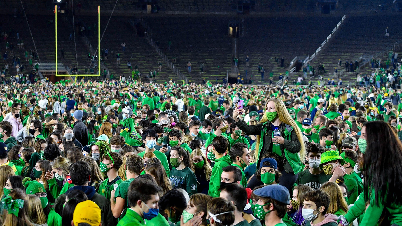 Notre Dame athletic director Jack Swarbrick addresses storming the field