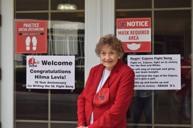 Hilma Levis wrote the University of Louisiana at Lafayette fight song 70 years ago when it was Southwestern Louisiana Industrial Institute. She returned to her alma mater on Saturday, Nov. 7, 2020, for a reunion with the
