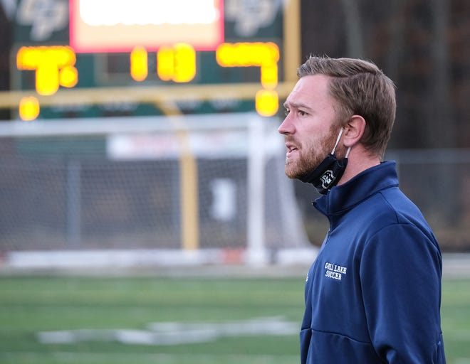 Richland Gull Lake Head Soccer Coach Matt Streitel on the sidelines during the Division 2 Boys Soccer Championship Game Saturday, Nov. 7, 2020. Richland Gull Lake won in overtime 1-0.