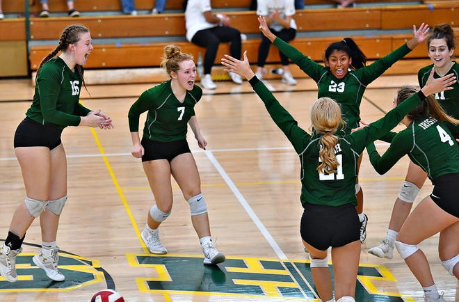 York Catholic reacts after winning 3-1 over Delone Catholic during PIAA District 3, Class 2-A girls' volleyball semifinal action against Delone Catholic at York Catholic High School in York City, Saturday, Nov. 7, 2020. Dawn J. Sagert photo