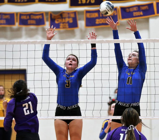 Veribest's Olivia Abbott, 3, and Cora Blackwell go up for a block on an attack by Benjamin's Madison Barrientez in a Class 1A regional quarterfinal at the Abilene Wylie gym on Saturday, Nov. 7, 2020.