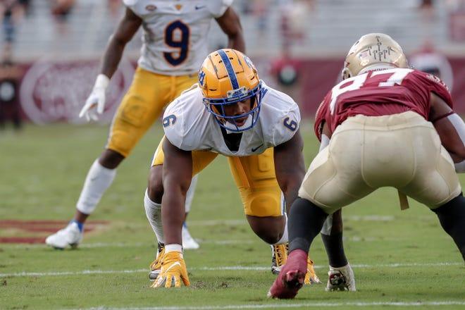 Pitt defensive end John Morgan (6) lines up against Florida State last week in Tallahassee. Pitt defeated FSU 41-17.