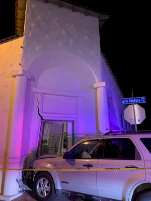 This was the scene of a DUI crash into a building in Ventura at Vince Street and Ventura Avenue on Friday night.
